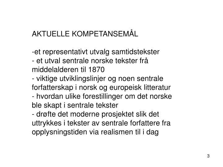 AKTUELLE KOMPETANSEMÅL