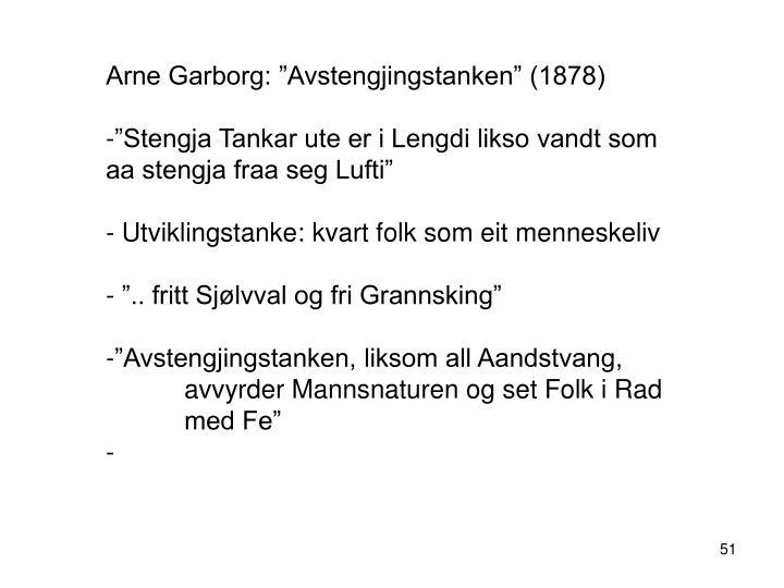 """Arne Garborg: """"Avstengjingstanken"""" (1878)"""