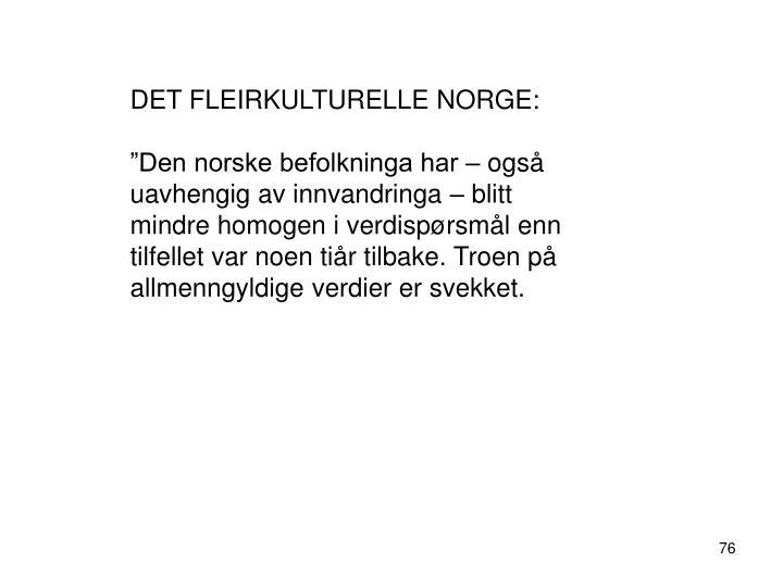DET FLEIRKULTURELLE NORGE: