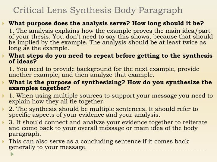 Critical Lens Synthesis Body Paragraph