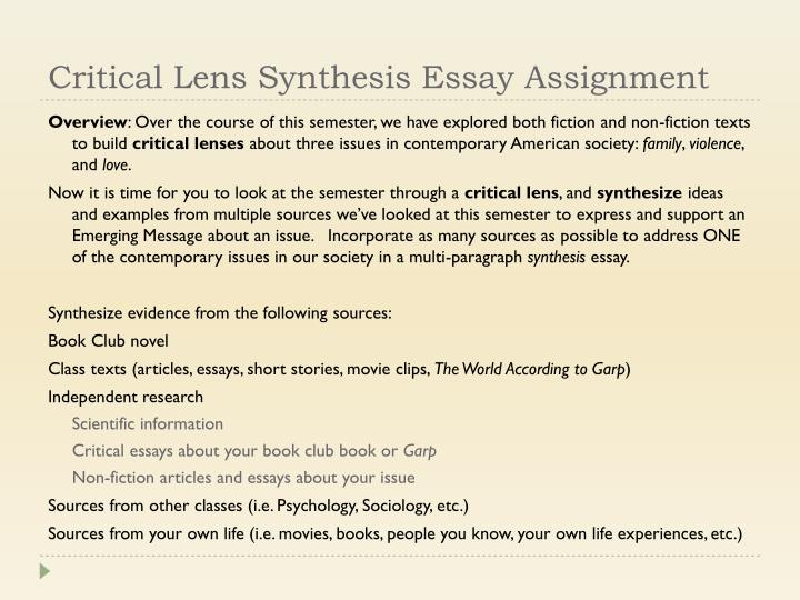 Critical Lens Synthesis Essay Assignment