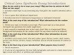 critical lens synthesis essay introduction