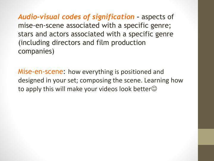 Audio-visual codes of signification