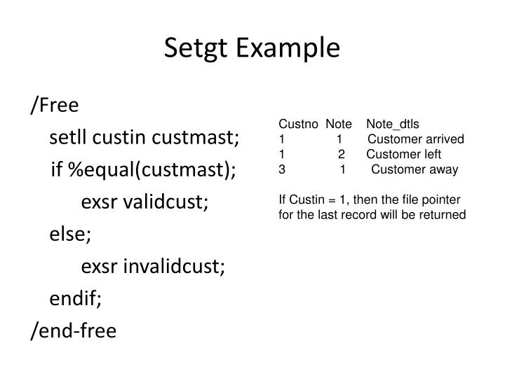 Setgt Example