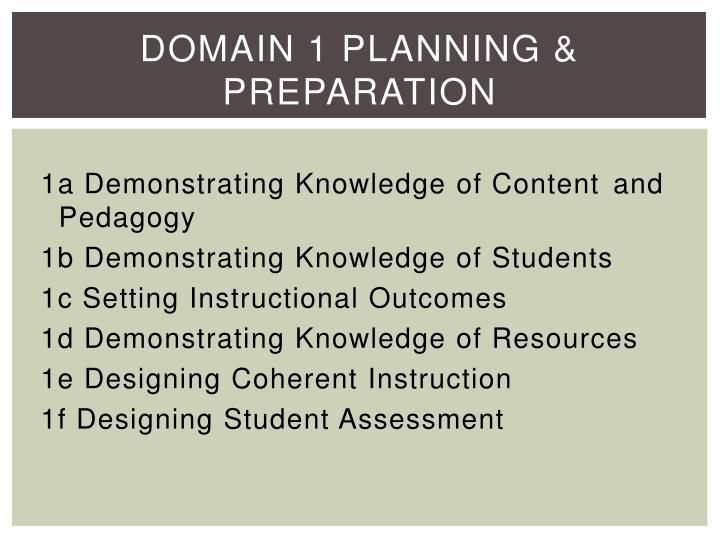 Domain 1 Planning & Preparation
