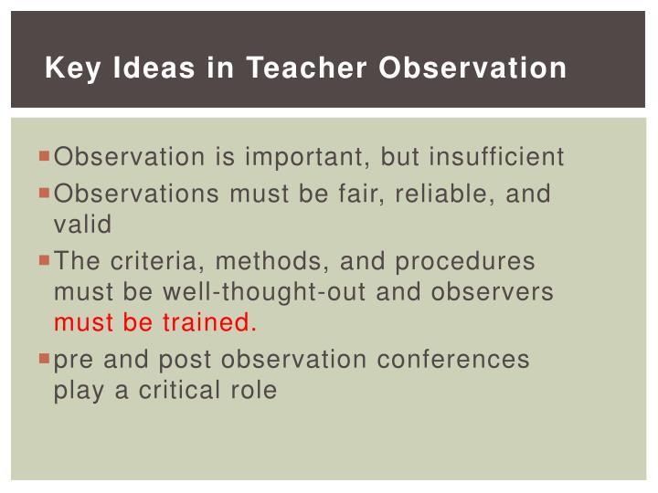 Key Ideas in Teacher Observation