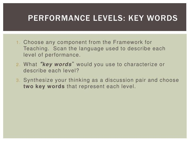Performance Levels: Key Words