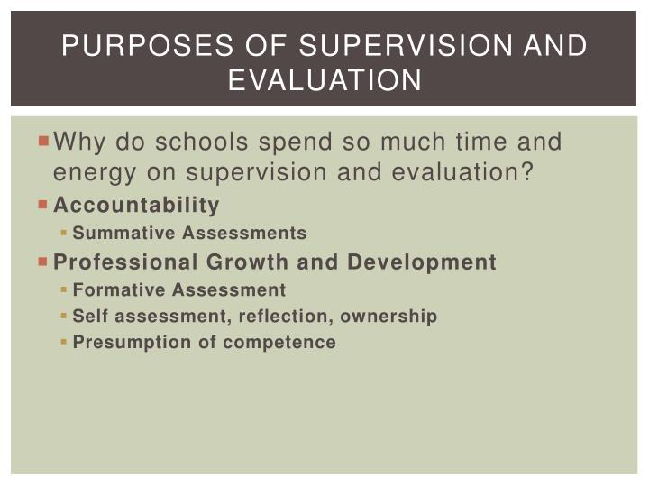 Purposes of Supervision and Evaluation