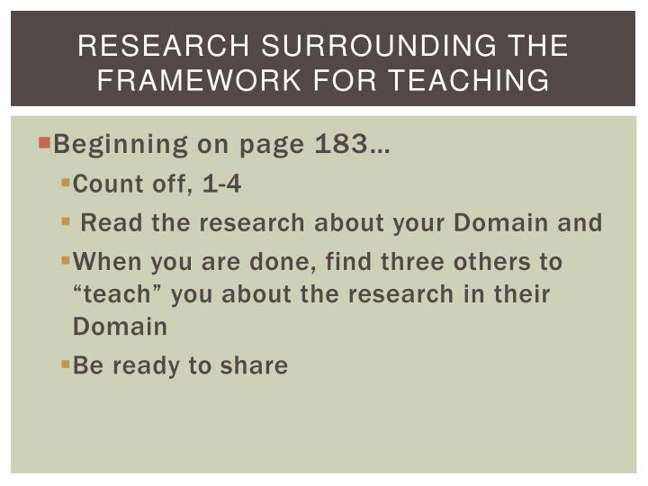 Research Surrounding the Framework for Teaching