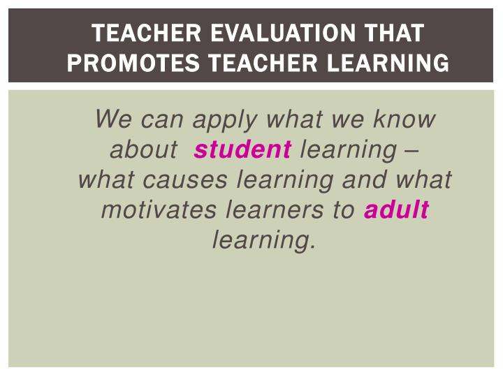 Teacher Evaluation that Promotes Teacher Learning