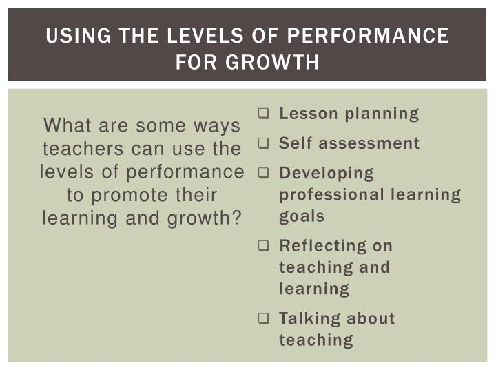 Using the Levels of Performance for GROWTH