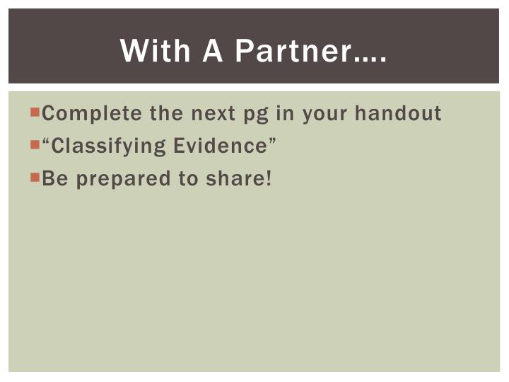 With A Partner….