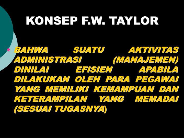 KONSEP F.W. TAYLOR