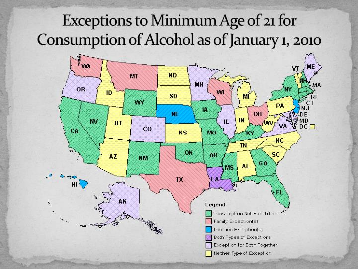 Exceptions to Minimum Age of 21 for Consumption of Alcohol as of January 1, 2010