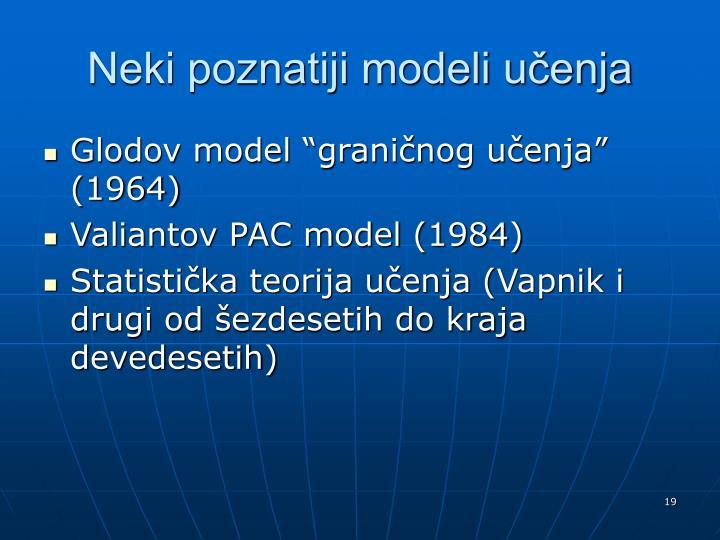 Neki poznatiji modeli učenja