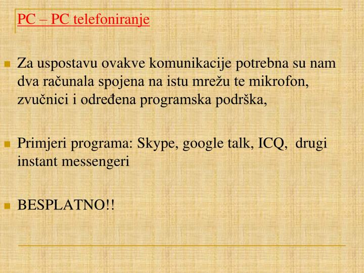 PC – PC telefoniranje