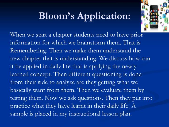 Bloom's Application: