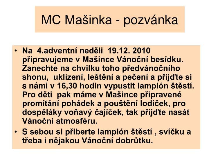 MC Mašinka - pozvánka