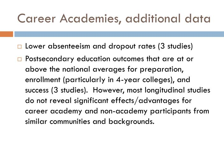 Career Academies, additional data