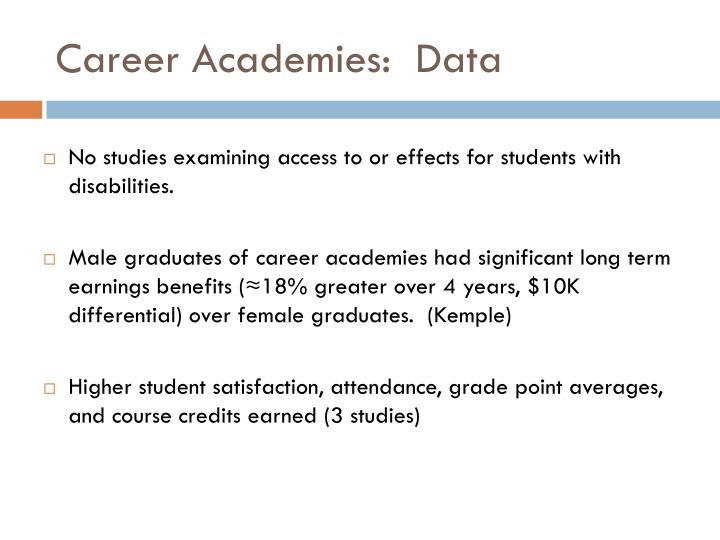 Career Academies:  Data