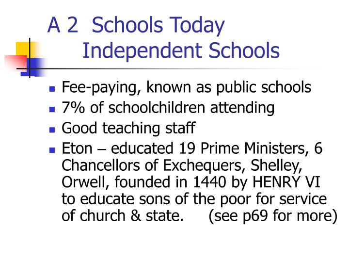 A 2  Schools Today   			Independent Schools