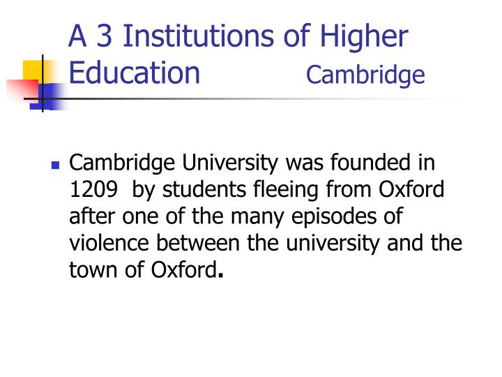 A 3 Institutions of Higher Education