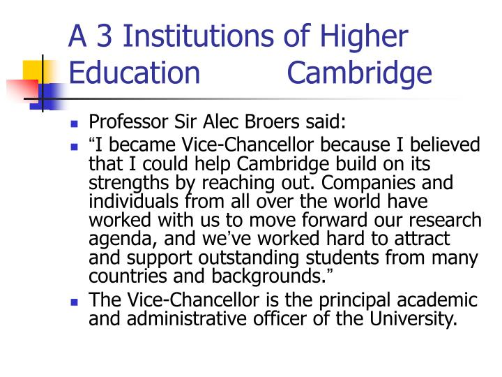 A 3 Institutions of Higher Education         Cambridge