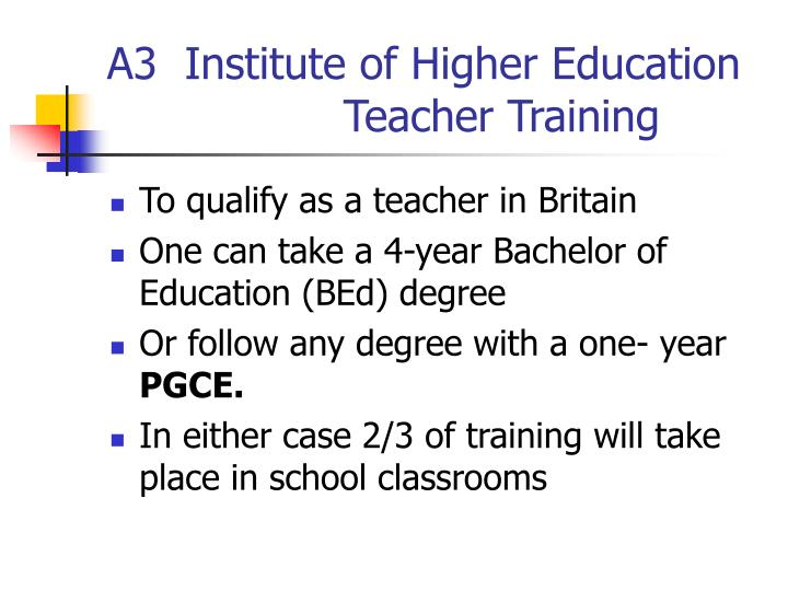 A3  Institute of Higher Education      			Teacher Training