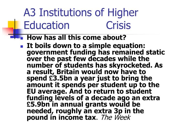 A3 Institutions of Higher Education           Crisis