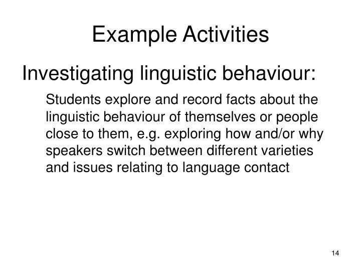 Example Activities