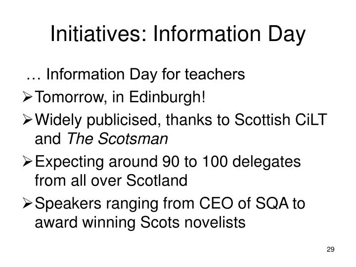 Initiatives: Information Day