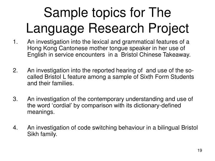 Sample topics for The Language Research Project