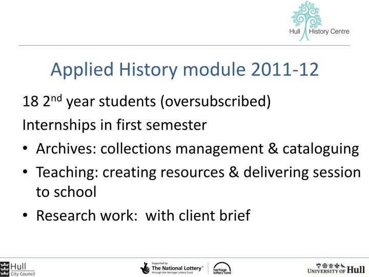 Applied History module 2011-12