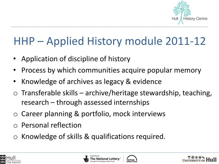 HHP – Applied History module 2011-12