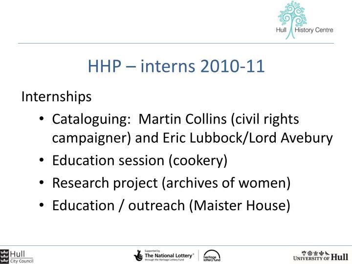 HHP – interns 2010-11