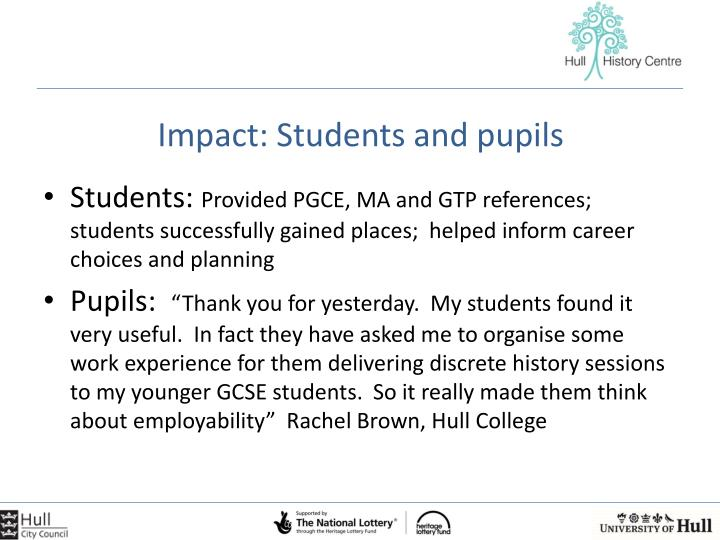 Impact: Students and pupils