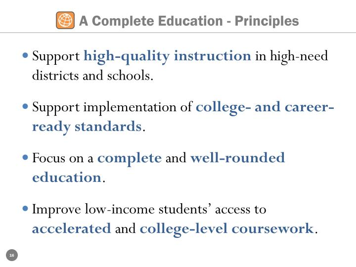 A Complete Education - Principles