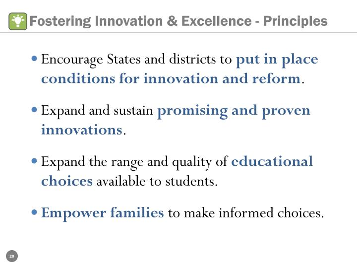Fostering Innovation & Excellence - Principles