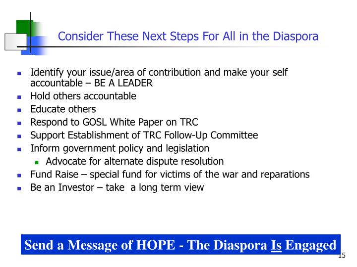 Consider These Next Steps For All in the Diaspora