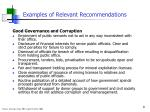 examples of relevant recommendations