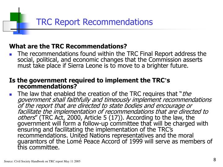 TRC Report Recommendations