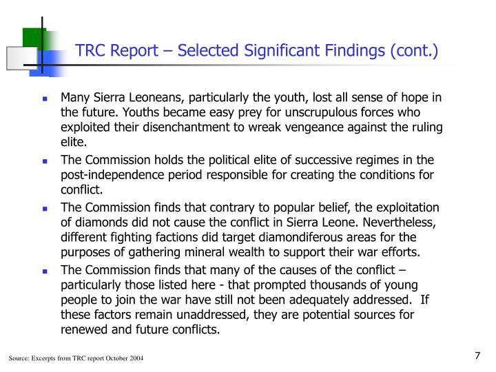 TRC Report – Selected Significant Findings (cont.)