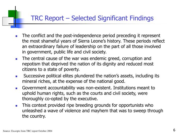 TRC Report – Selected Significant Findings