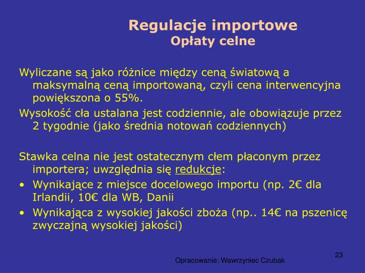 Regulacje importowe