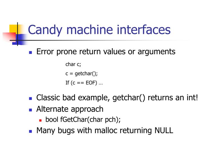 Candy machine interfaces