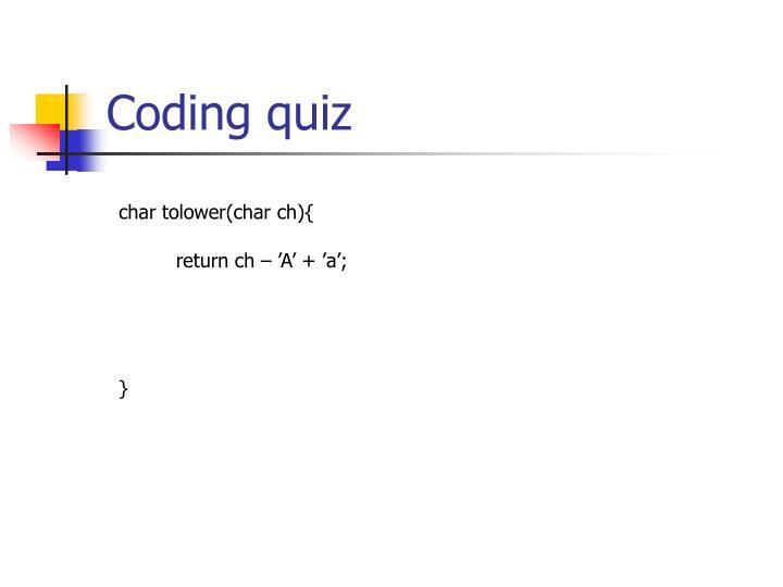 Coding quiz