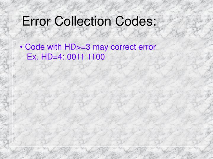 Error Collection Codes: