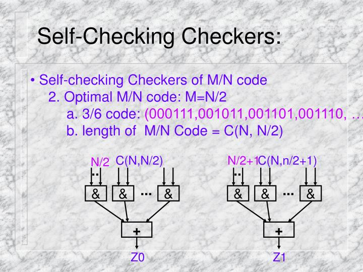 Self-Checking Checkers: