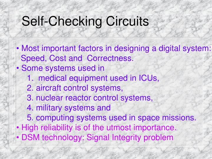 Self checking circuits
