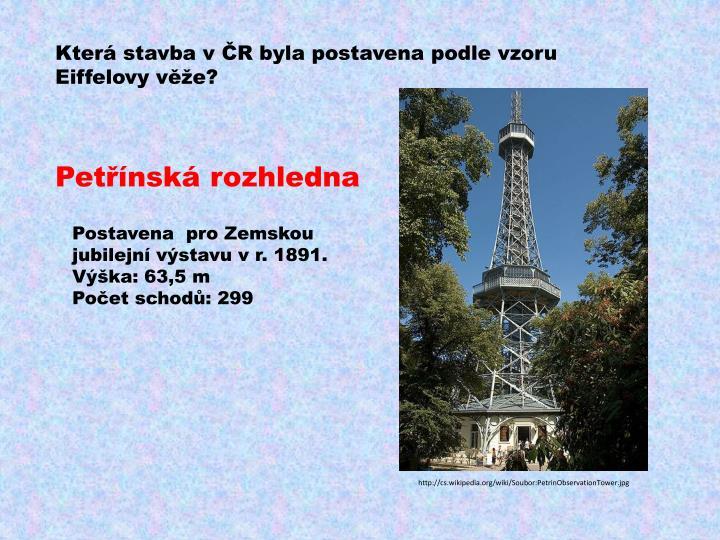 Která stavba v ČR byla postavena podle vzoru
